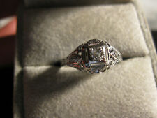 18k White Gold Art Deco Filigree/Diamond Ring, Sz.8.25