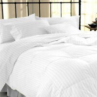 400 Thread Count Satin Stripe White Duvet Quilt Cover & Pillow Case All Sizes