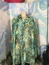 Ruby Rd Plus 4X Teal  Animal Print Sheer Button Down Long Roll Sleeve Tunic Top
