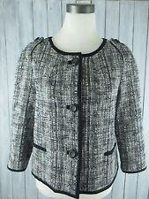 Women's TALBOTS Black White Tweed Jacket Blazer Coat, Sz 8