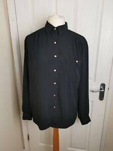 Vintage 1980s Delmod Black Embroidered Long Sleeved Blouse Modern Size 16