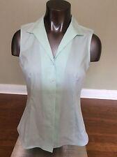 Jones New York Non Iron Green Sleeveless Button Down Cotton Shirt Size S