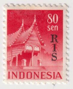 "1950 Indonesia - Buildings - Overprinted ""RIS"" - 80 Sen Stamp"