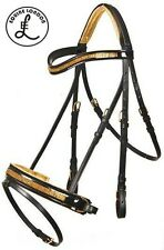 Copper - GOLD Show horse Bridle -Crystal Browband -English Dressage saddle - COB