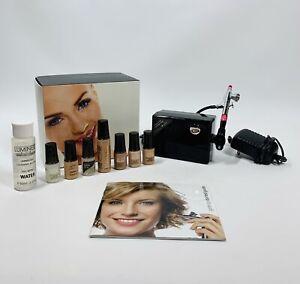 LUMINESS AIR Airbrush Makeup System +  7 Foundation Shades 2 3 Primer Seal Eyes