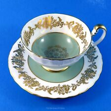 Sage Green and White with Gold Garland Aynsley Tea Cup and Saucer Set