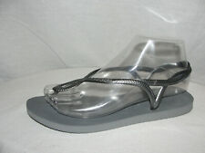HAVAIANAS Shoes Women's Size 7-8M 37-38 Steel Gray LUNA Thong Slingback Sandals