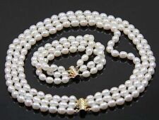 beautiful 3 Rows 7-8mm Natural White Freshwater Oval Pearl Necklace Bracelet Set
