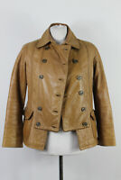 MASSIMO DUTTI WOMAN Double Breasted Leather Brown Jacket size S