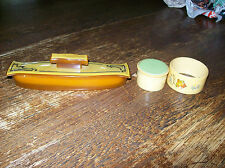 Bakelite Nail Buffer, Napkin Ring Holder & Small Covered Pill Box