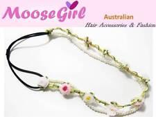Pretty Summer Silk Flowers White Pearls Elastic Headband Girls Ladies Hair band