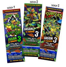 MUTANT NINJA TURTLES TMNT TEENAGE TICKET BIRTHDAY PARTY INVITATION INVITE CUSTOM