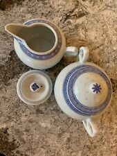Vintage Chinese Porcelain Rice Eye Sugar And Creamer Blue and White Extra Lid