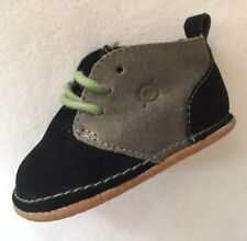 New Baby Boy Born Nuborn Black & Grey Suede Shoes Green Laces sz 2 US/ 17 EUR