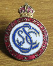 Old Enamel Kings Crown Bowling Bowls Pin Badge - Civil Service