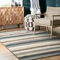 nuLOOM Malani Bengal Striped Area Rug in Beige, Grey, Brown