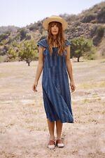 $325 The Great. Sundown Midi Dress Blue Tiller Stripe White Size 2