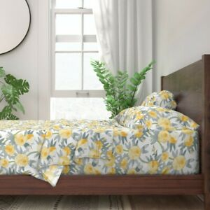 Yellow Citron Watercolor Floral Peonies 100% Cotton Sateen Sheet Set by Roostery