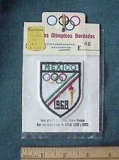 Mexico 1968 Olympics shield torch rings embroidered uniform patch Original Pkg.