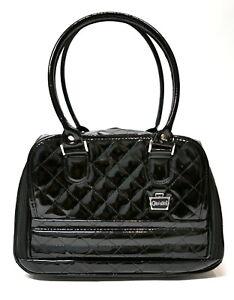 Caboodles Black Faux Patent Leather Makeup Bag Lots of Makeup Compartments