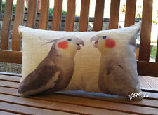 Cotton Linen Cushion Cover Pillow Case Australian Bird Cockatiel - Exclusive