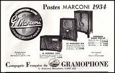 Publicité TSF Poste Radio Pathé Marconi  ad  1934 - 10h