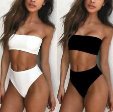 New Solid Bikini Swimsuit Women Set Sexy Off Shoulder Swimwear Swimming Maillot