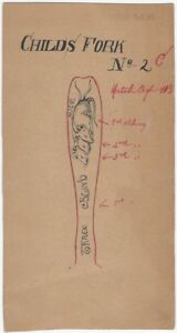 Early 20th C. Pen & Ink Silver Design for Three Blind Mice Children's Fork
