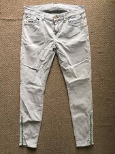7 For All Mankind The Skinny Cord Ankle Zip Jeans in Vanilla Size 29