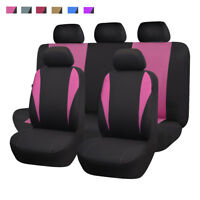 universal Car Seat Covers Front Rear Full Set Washable pink Easy Installation