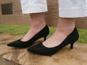 Womens Kitten low Heel Black Court Shoe Slip On Casual Shoes Comfy Office
