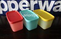 Tupperware Mini Rectangular Freezer It Mates Container Vibrant Color Set 3 New