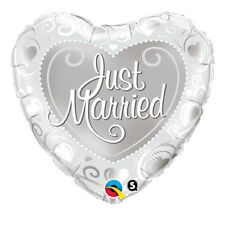 Party Decorations Supplies Just Married Hearts & Swirls Foil Heart Balloons