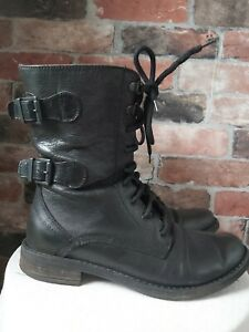 RUSSELL & BROMLEY 100% LEATHER BLACK COMBAT MILITARY BOOTS SIZE 4 EU37