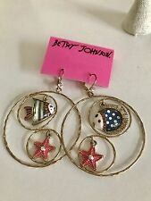NWT 100% Betsey Johnson Sea Star Fish Hoops Earrings