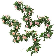 2x Artificial Purple Rose Garland Silk Flower Vine Ivy Wedding Garden Home Décor