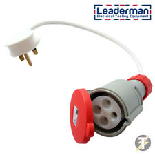 Leaderman 3 Phase Industrial 4 Pin Adaptor 415V 32a Socket to 13a Plug LDM324S