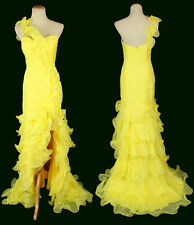 New Genuine Jovani 110926 Yellow One-Shoulder Pageant Bridal Formal Gown Size 0