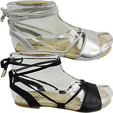 Womens Ladies Flat Gladiator Leg Tie Up Open Toe Summer Sandals Shoes Size Grip