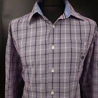 Paul Smith Mens Shirt 2XL Long Sleeve Purple Regular Fit Check Cotton