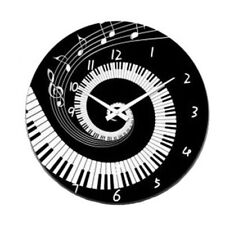 French Country Chic Retro Inspired Wall Clock 30cm PIANO MUSIC New