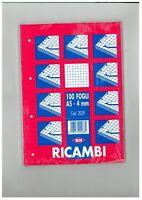 RICAMBIO QUADRETTI 4MM FORMATO A5 DA 100FOGLI, 10 PEZZI (10RICAMBI)