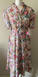 Vintage St Michael Floral Belted Button Up Midi Dress Size 12 Petite Cottagecore