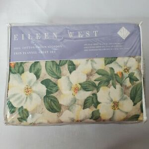 Vintage Eileen West Floral Twin Flannel 3 Piece Sheet Set New in Packaging