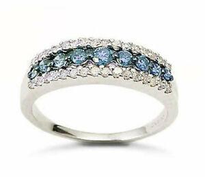 10K White Gold Blue & White Diamond Band Ring .50ct Triple Row Diamond Band