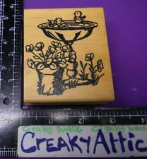 BIRDBATH  BIRDS POT OF FLOWERS SCENE RUBBER STAMP ME AND CARRIE LOU