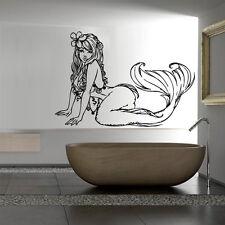 Wall Decal Sticker Vinyl Mermaid Star Tail Cartoon Fish Alga Ocean Sea M813