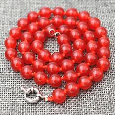 "Charming 10mm red Jade gemstone bead necklace 18"" JN1555"