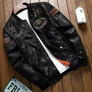 Men's Air Force Suit Motorcycle Leather Jacket Flight Embroidered Coat Outwear