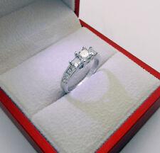 Anniversary 18k White Gold 3-stone Princess Diamonds 1.80 tcw Engagement Ring